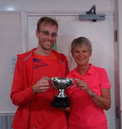 Alex Asklov and Judy Tierney with the Mixed Doubles Winners Cup