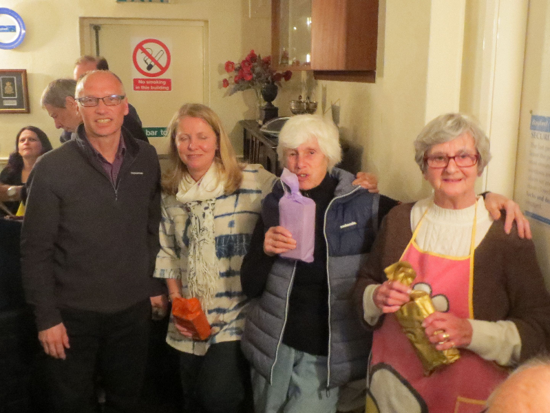 Quiz Night Organisers Norma, Nerys and Alison with President Mike