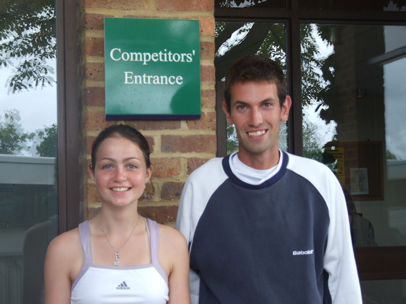 Amy Ellis & coach Mike Armstrong at the Road To Wimbledon 2008 tournament.