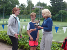 2017 Presentation to the Winners of the Mixed Doubles, Cameron Thys and Diane Furnival